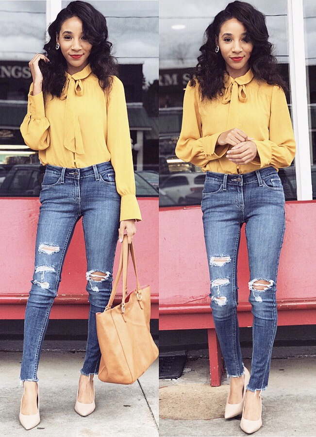 Ripped Levi Jeans- Dillard's  Blu Pepper Mustard Yellow Collared Blouse - Dillard's  Nude heels - Payless Shoes  Handbag - Charming Charlie