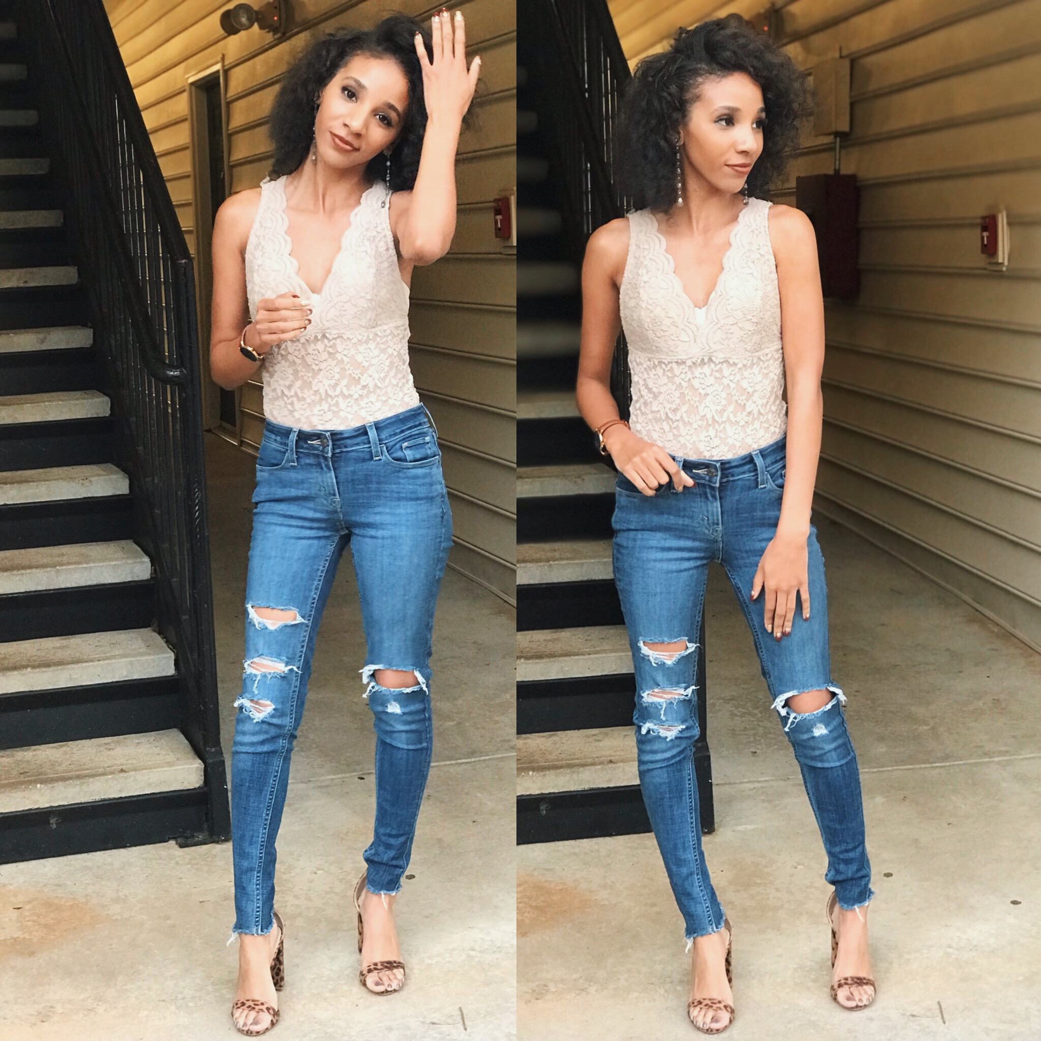 Ripped Levi Jeans:Dillard's  Tan Laced V-neck Bodysuit: Rainbow  Cheetah Print Ankle Strapped Heels: Rue 21