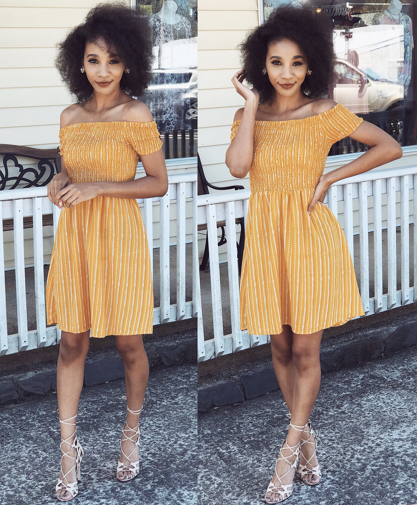 Mustard yellow and white striped, off-the-shoulder dress: Rue 21  Heels: Charlotte Russe