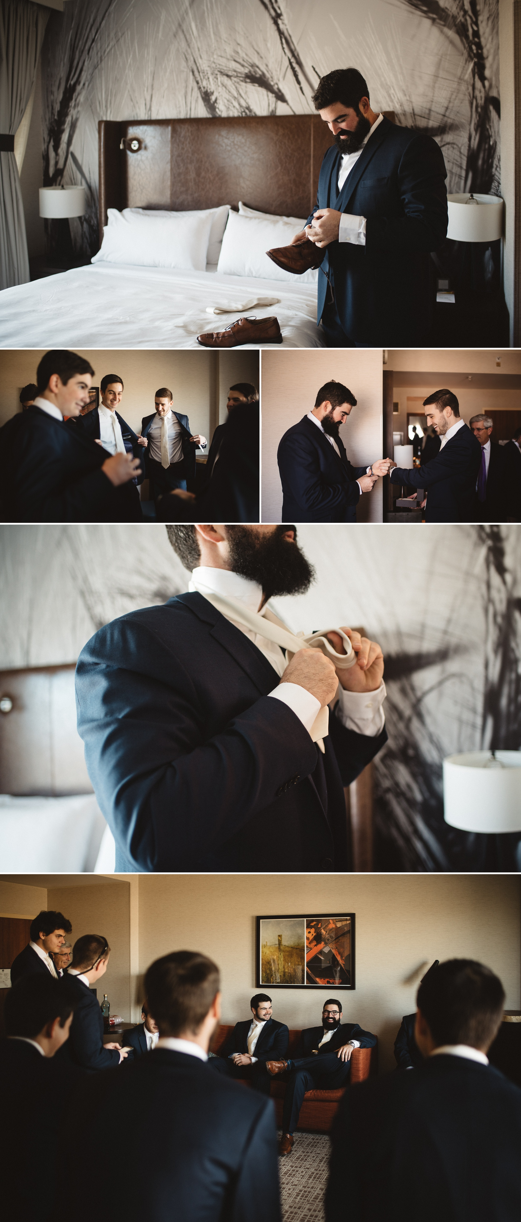 Charlie getting ready with his groomsmen at the Interlocken Hotel in Broomfield.
