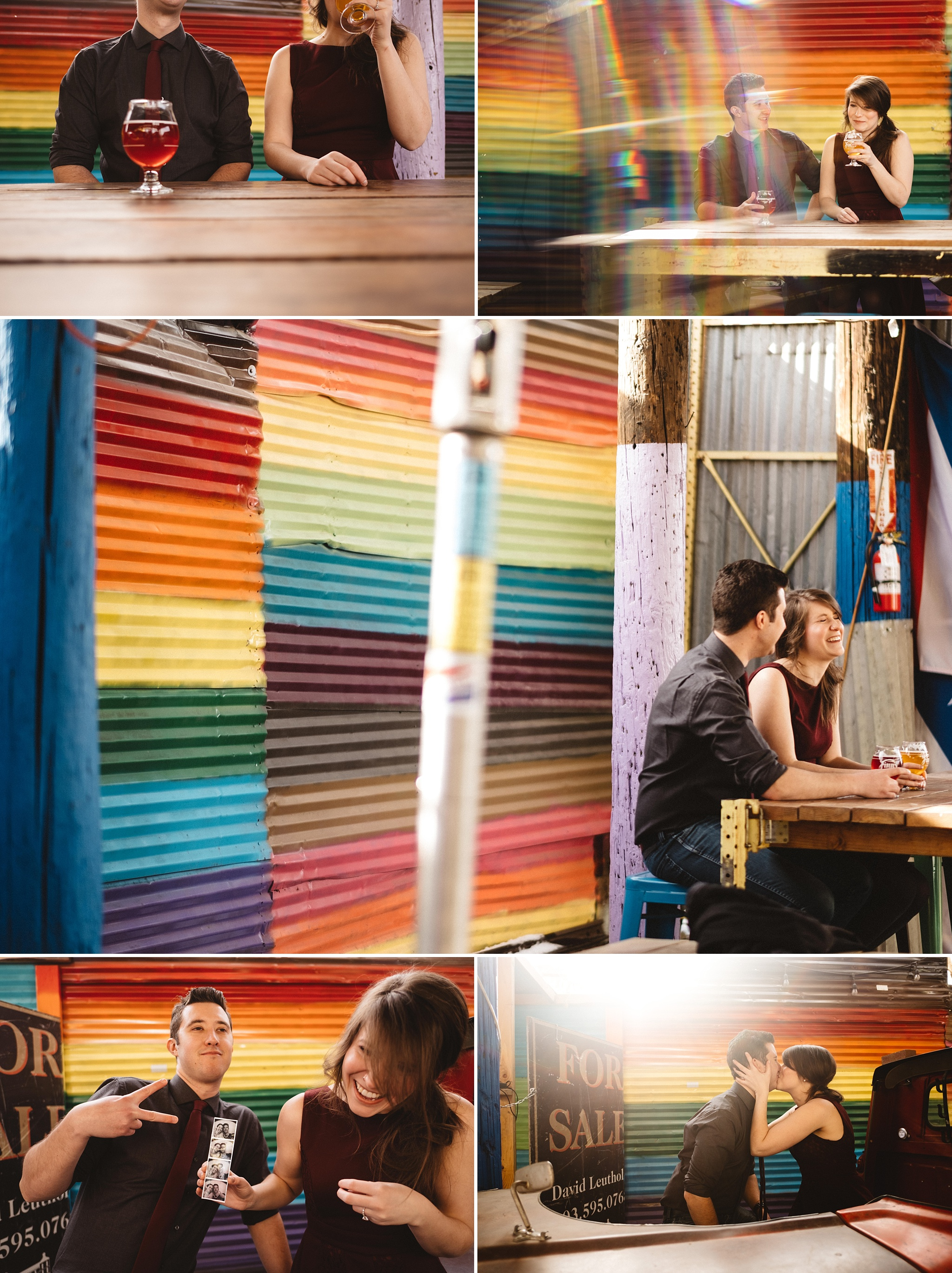 How fun is that rainbow corrugated iron wall behind Megan + Tim!