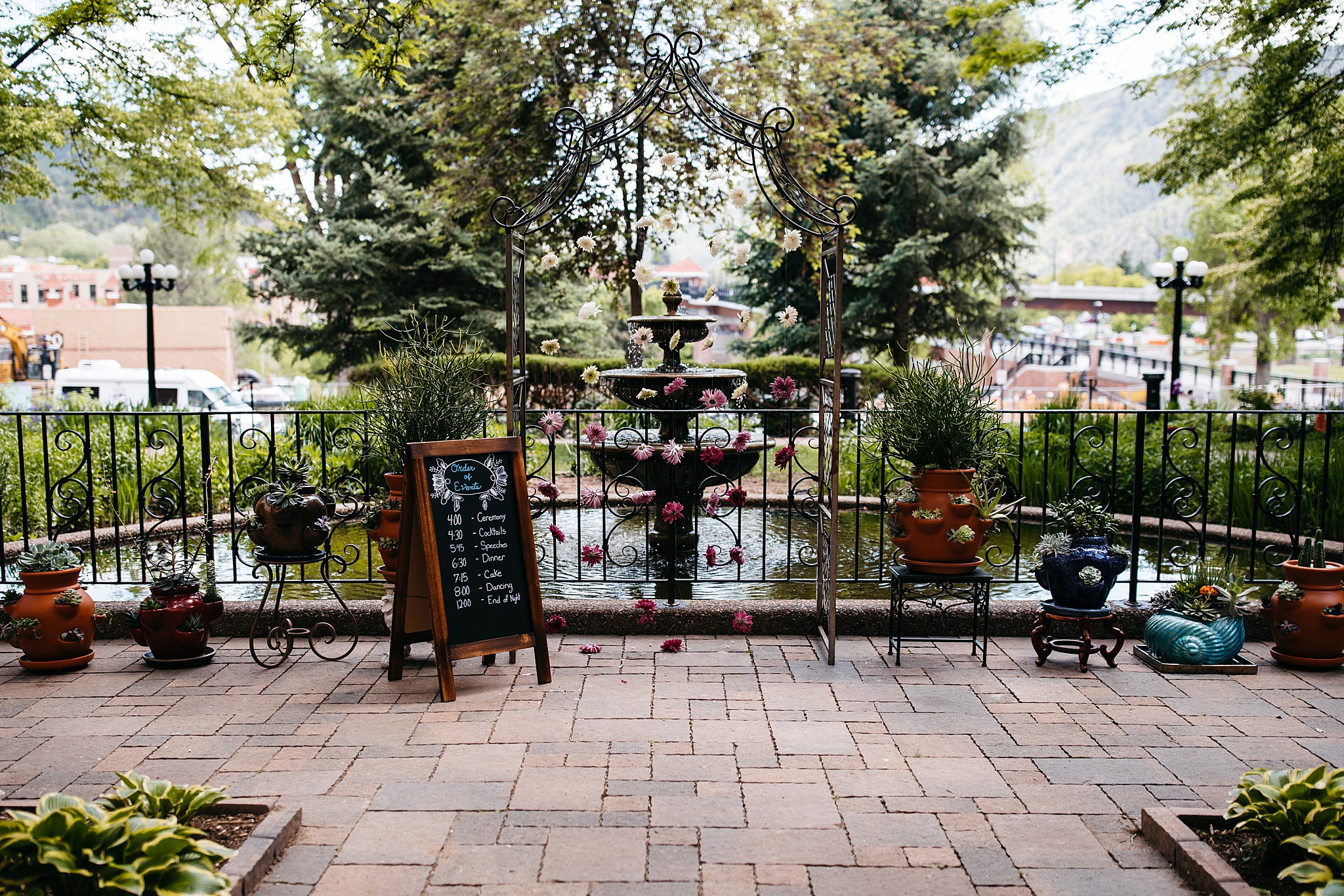 Val + Larry's ceremony site at the Hotel Colorado in the main courtyard.
