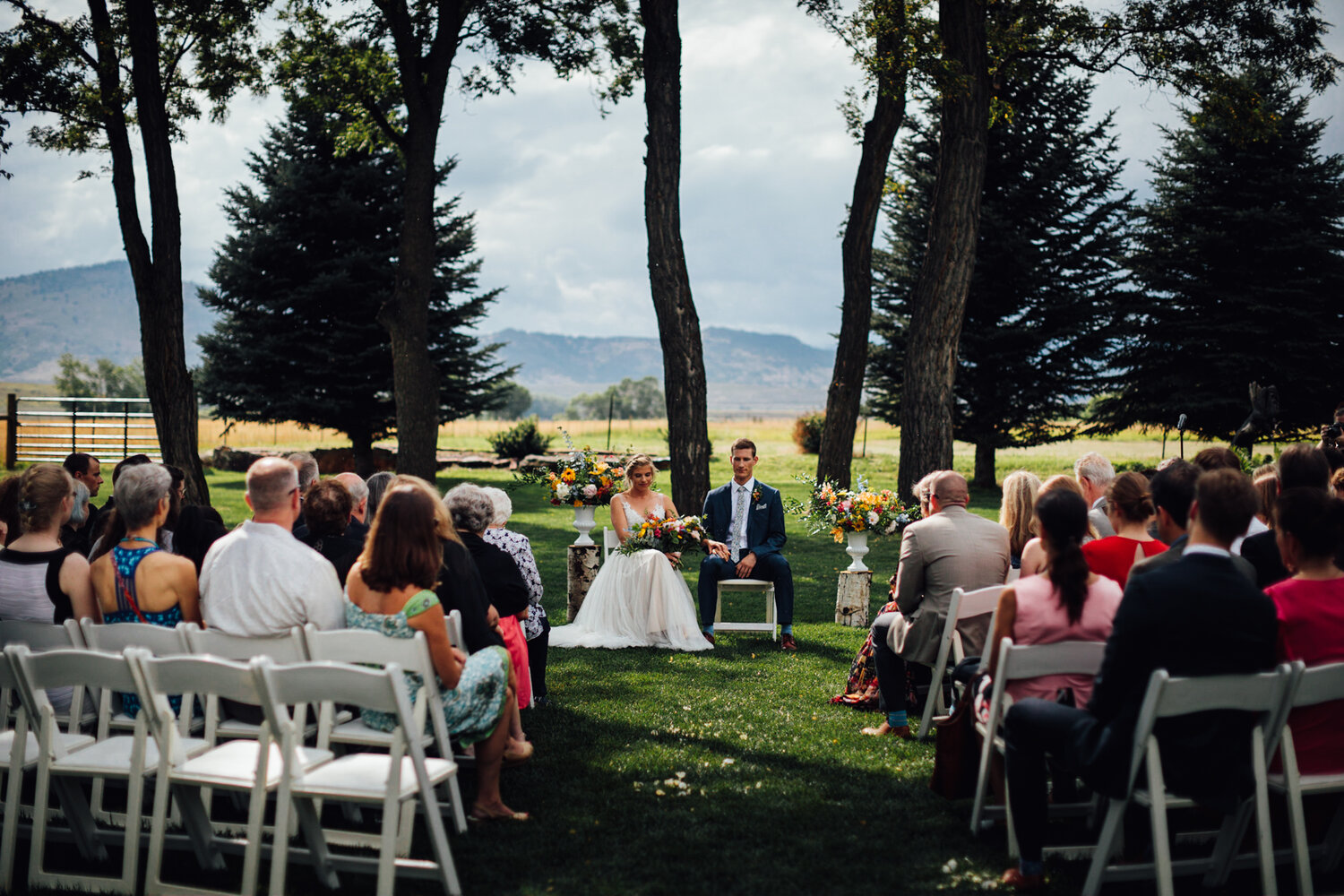 A moment of silence held during Emma + Taylor's ceremony at Shupe Homestead.