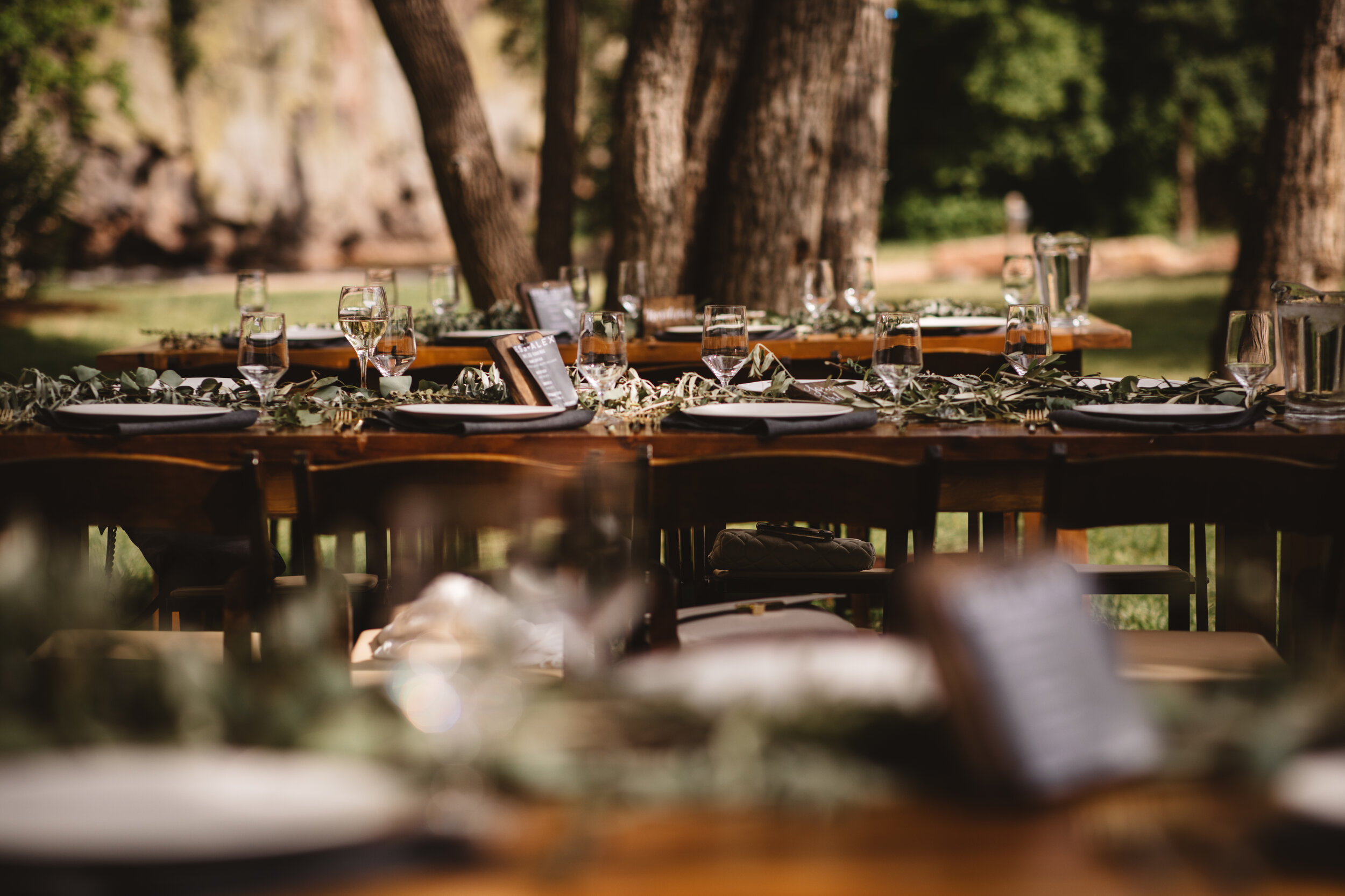 A gorgeous outdoor dinner at Jess + Alex's Planet Bluegrass dinner. See more from their wedding  here!