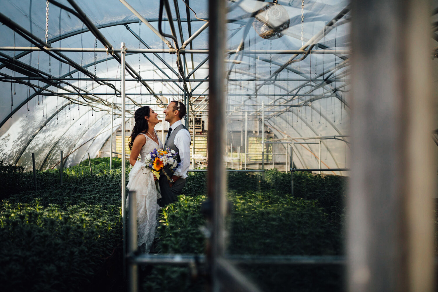 Sarah + Lewis enjoying a moment in one of Pasture of Plenty's greenhouses—i.e. the moment when all my farm wedding dreams came true.