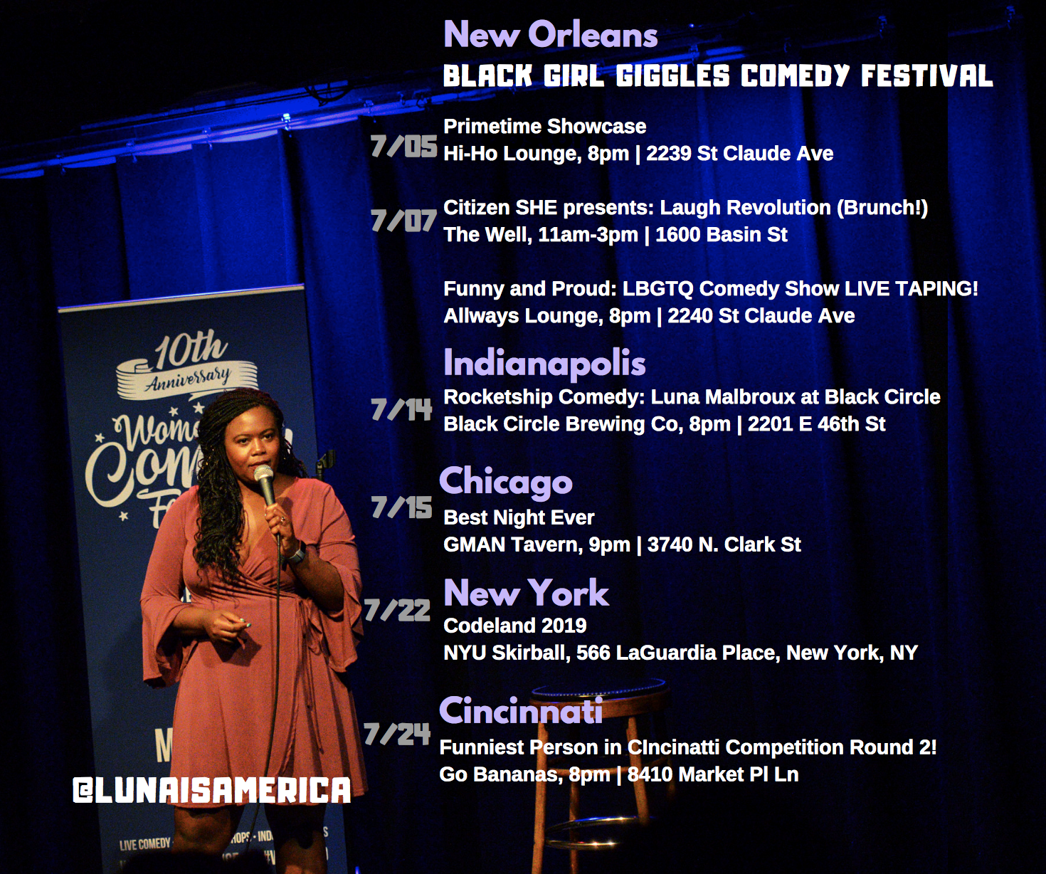 JULY SHOWS: Comedy in Five States!