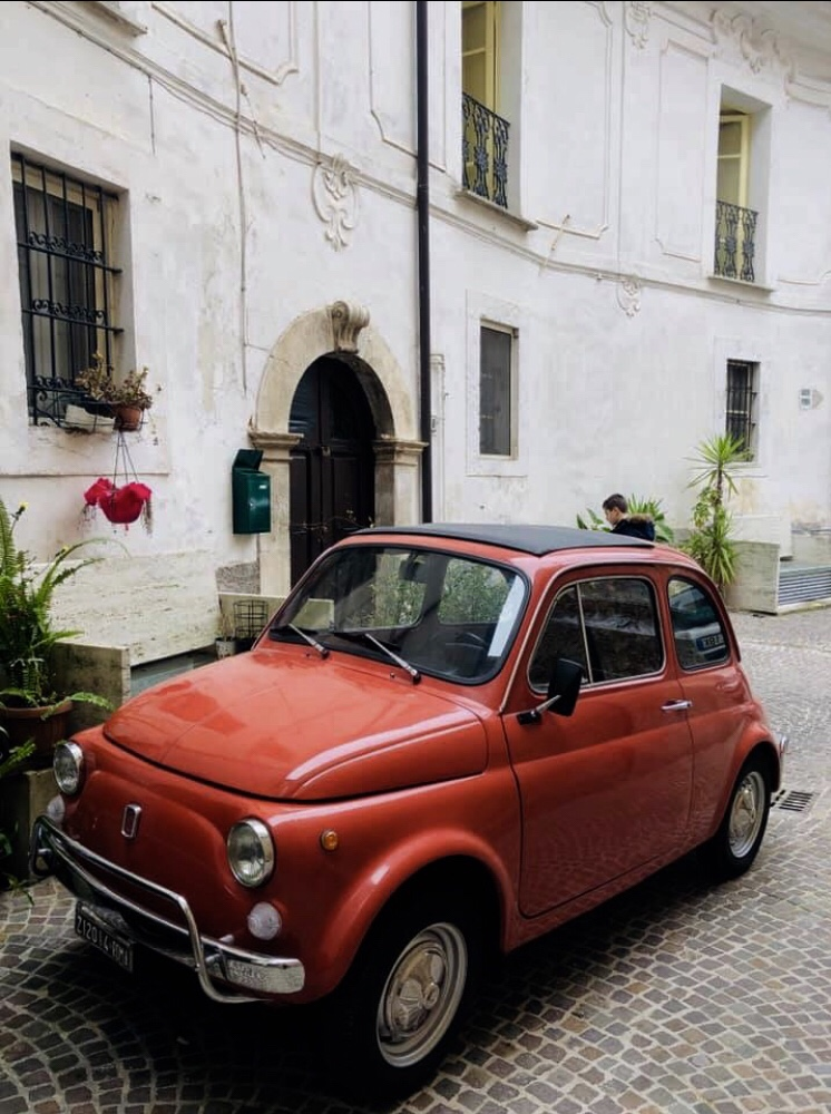 Fiat 500c in Palazzo Tronconi's courtyard photo by  Lynette Michael