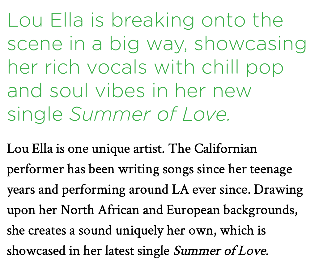 """It's her mesmerising low key vocals that captivates the listener to the song and give it a soulful vibe. Here Lou also showcases her impeccable songwriting skills"""