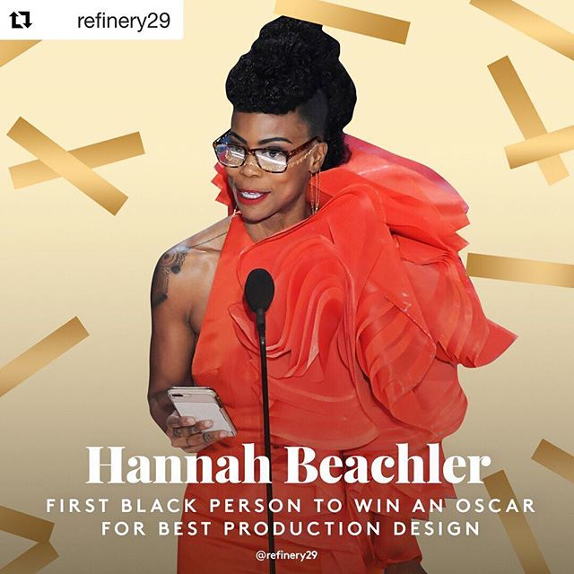 "One more (for now) big holler and round of soul-claps from last night's #Oscars for #HannahBeachler, who made history! ""I did my best and my best is good enough,"" she said in her emotional acceptance speech. Bring on the excellence! 🙌🏾✨✨✨ #Repost @refinery29 ・・・ 👏What a great night for Black women. More of this every award show, pls!"