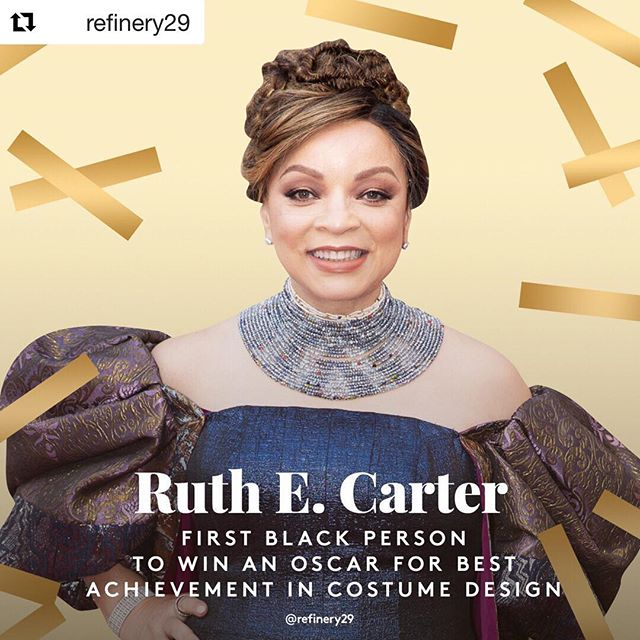 Longtime coming, indeed! The original costuming gawd, finally recognized by @theacademy. But we been knew! #RuthECarter, a living icon.✨✨✨🙌🏾💪🏾 #Repost @refinery29 ・・・ 💫S/o to @blackpanther's world renowned costume designer for being the first Black person to win an #Oscar for Best Costume Design. #BlackExcellence belongs on the red carpet. 🏆