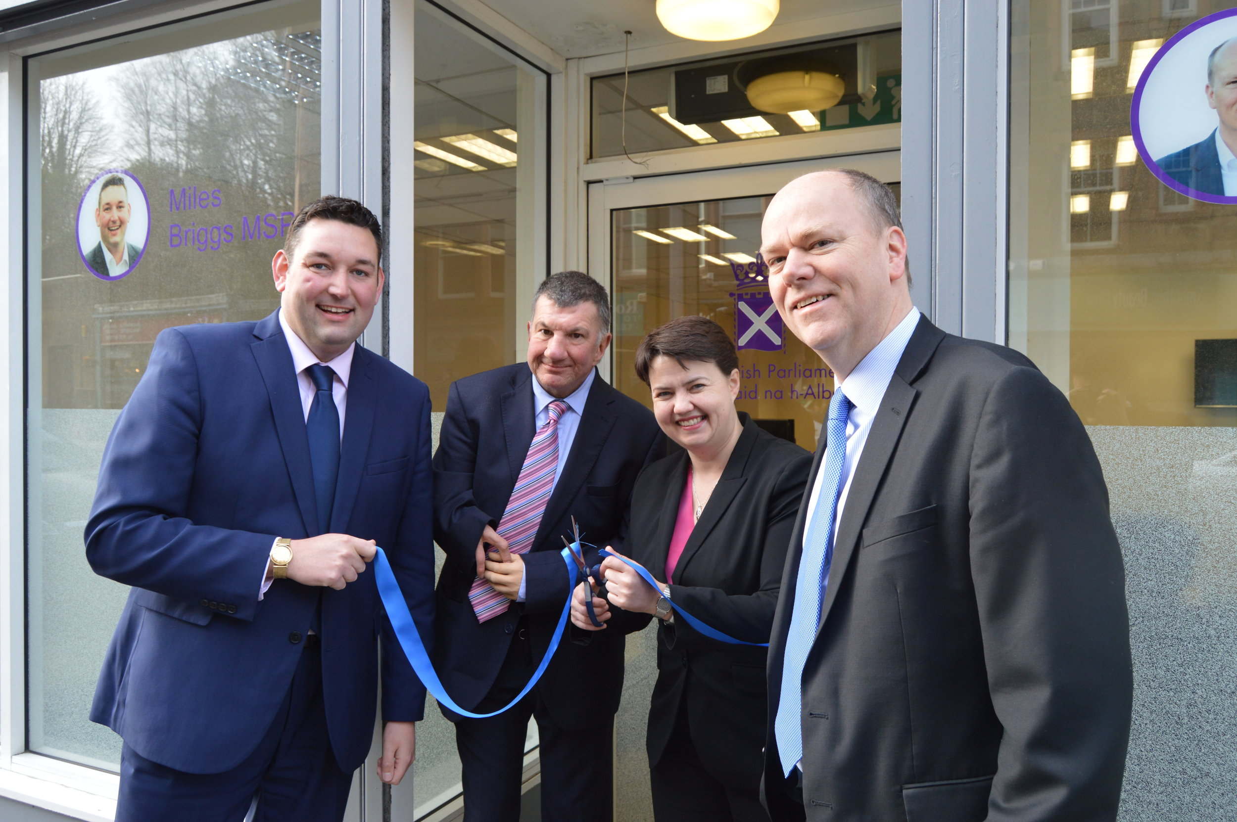 Miles, Ruth Davidson, Gordon Lindhurst and Jeremy Balfour at the opening of their new Parliamentary Office in Roseburn.