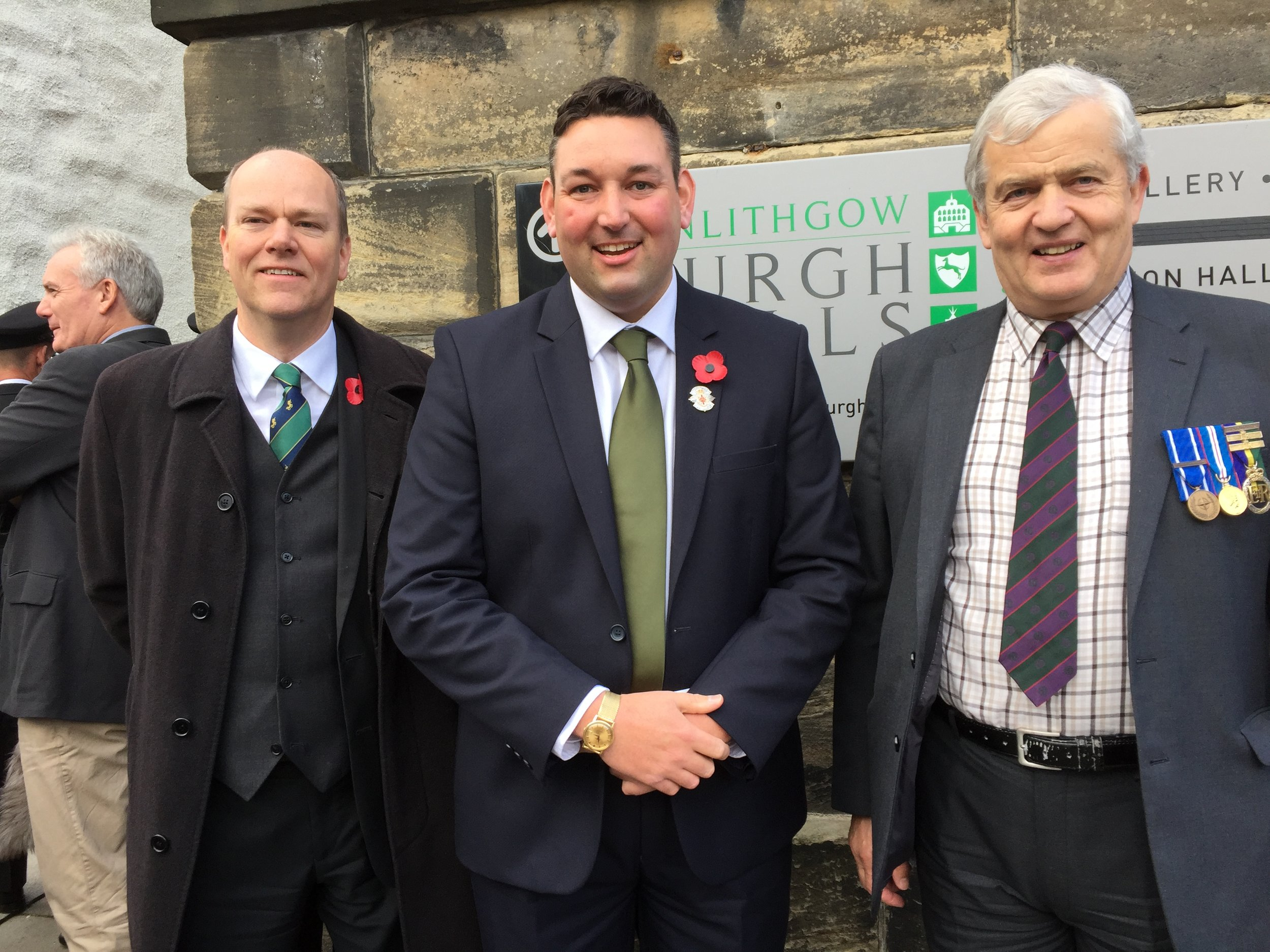 Miles with MSP colleagues at World War One Memorial Service in Linlithgow