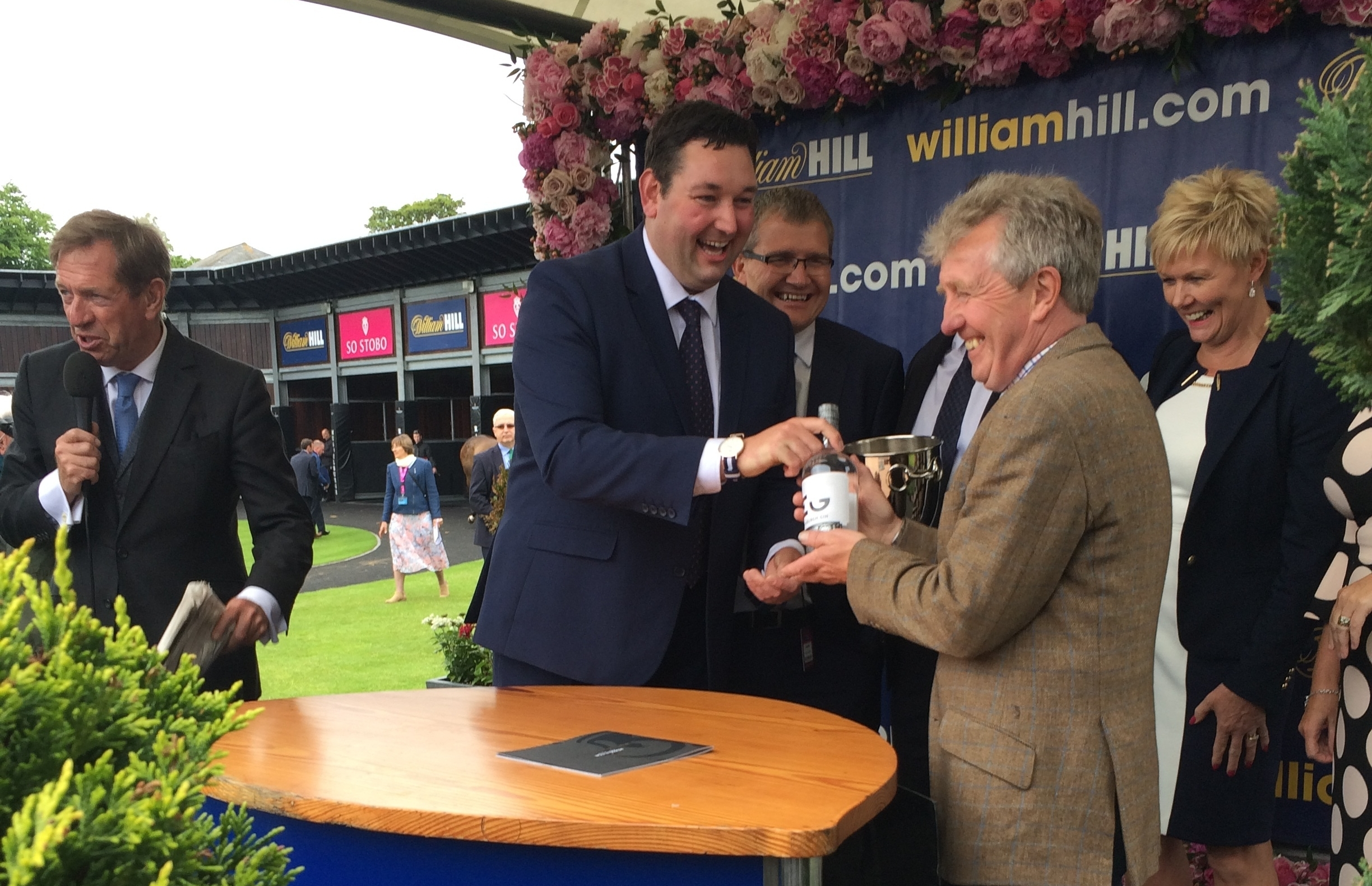 Miles presenting a prize at Musselburgh Racecourse