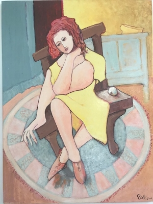 """Giles Parish,  The Lady in the Chair , acrylic on canvas, 40"""" x 30"""""""