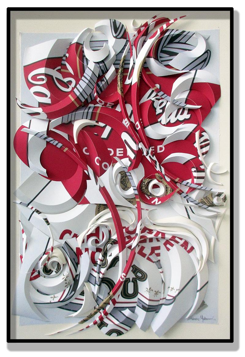 "Salvatore Matteo, ""Chicken Noodle No. 2,"" cut fine art print on wood panel, 36"" x 24"""