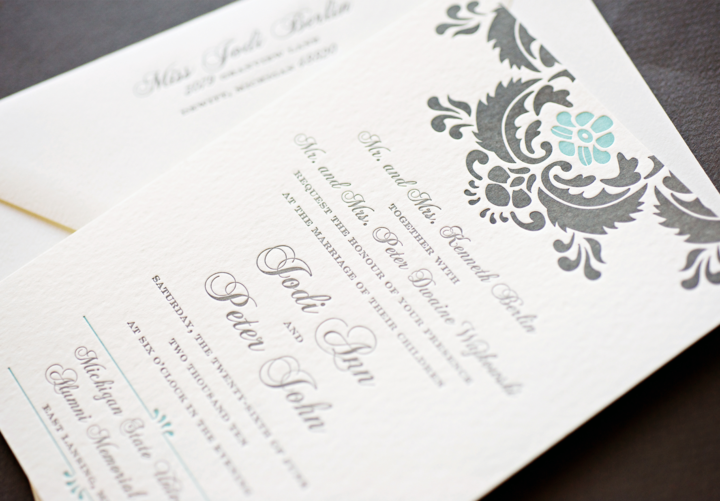 Modern damask letterpress invitation printed in charcoal and pool ink on Canaletto Grana Grossa paper.