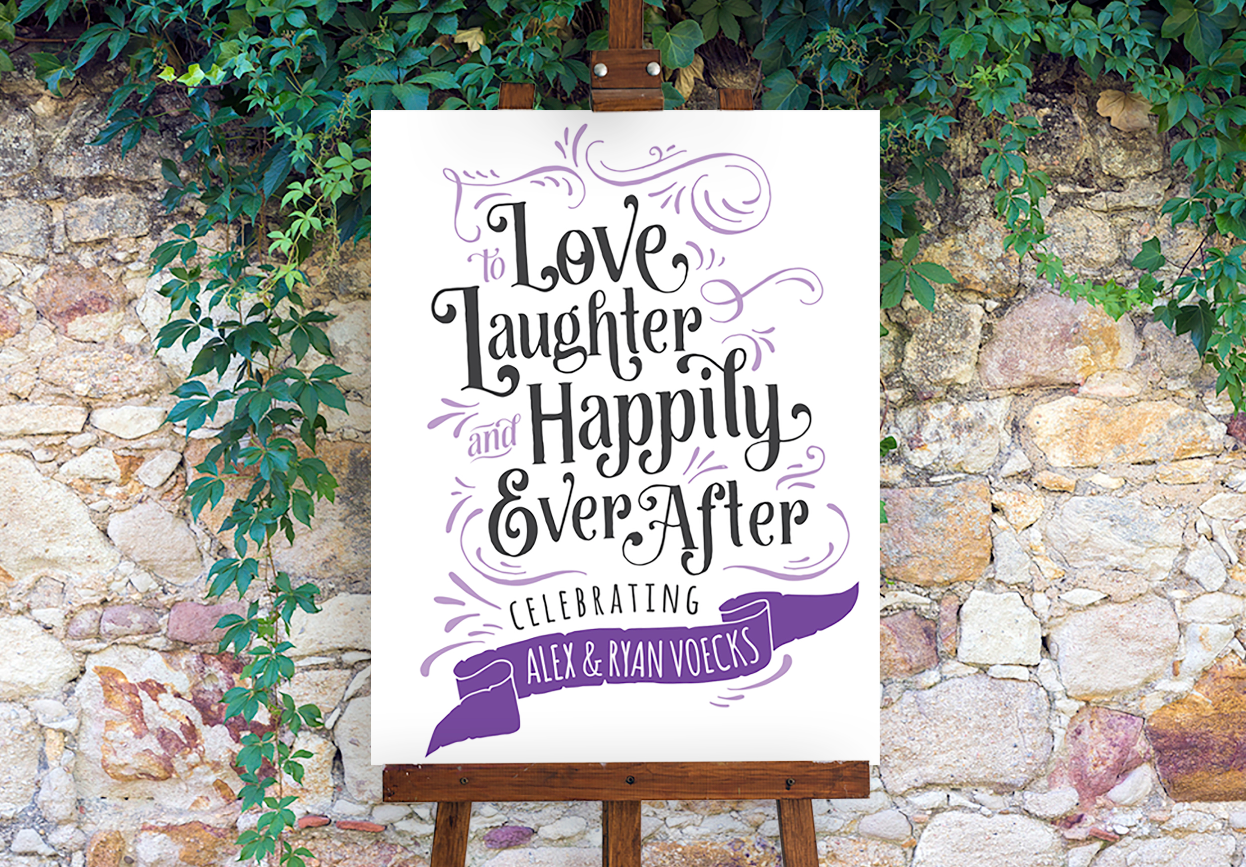 Happily ever after party sign printed in lilac and black ink.