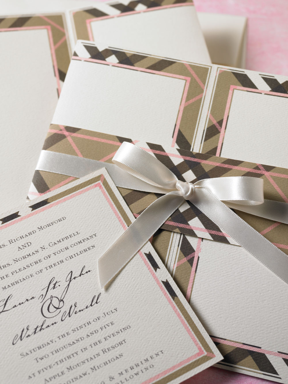 Chocolate brown and soft pink nova plaid wedding invitation, jacket and bellyband. Flat printed on soft white felt weave paper.