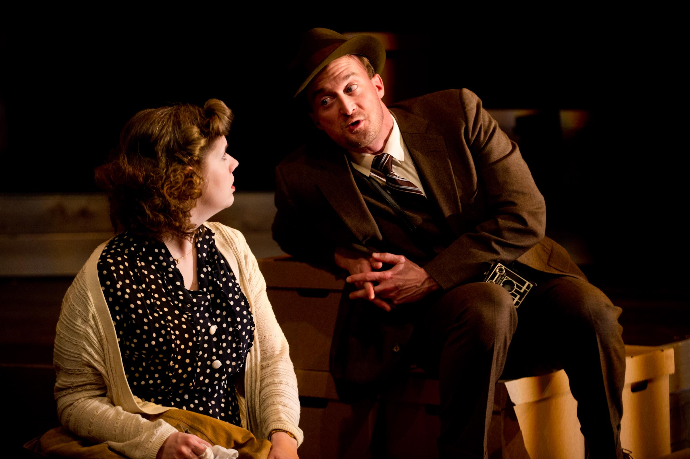 """Molly Rhode as Shirley Hughes and Josh Aaron McCabe as Walker Evans in """"A Thousand Words."""" Photo by Nick Berard."""