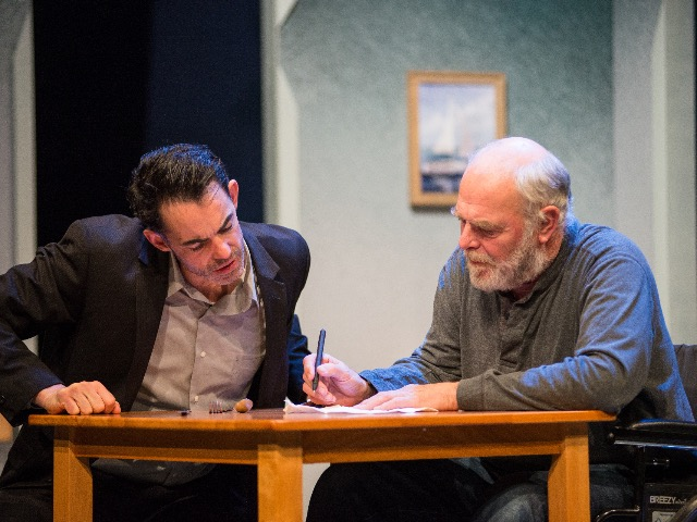 "Drew Parker and Jim Pickering play father and son in ""The Secret Mask"" at Next Act."