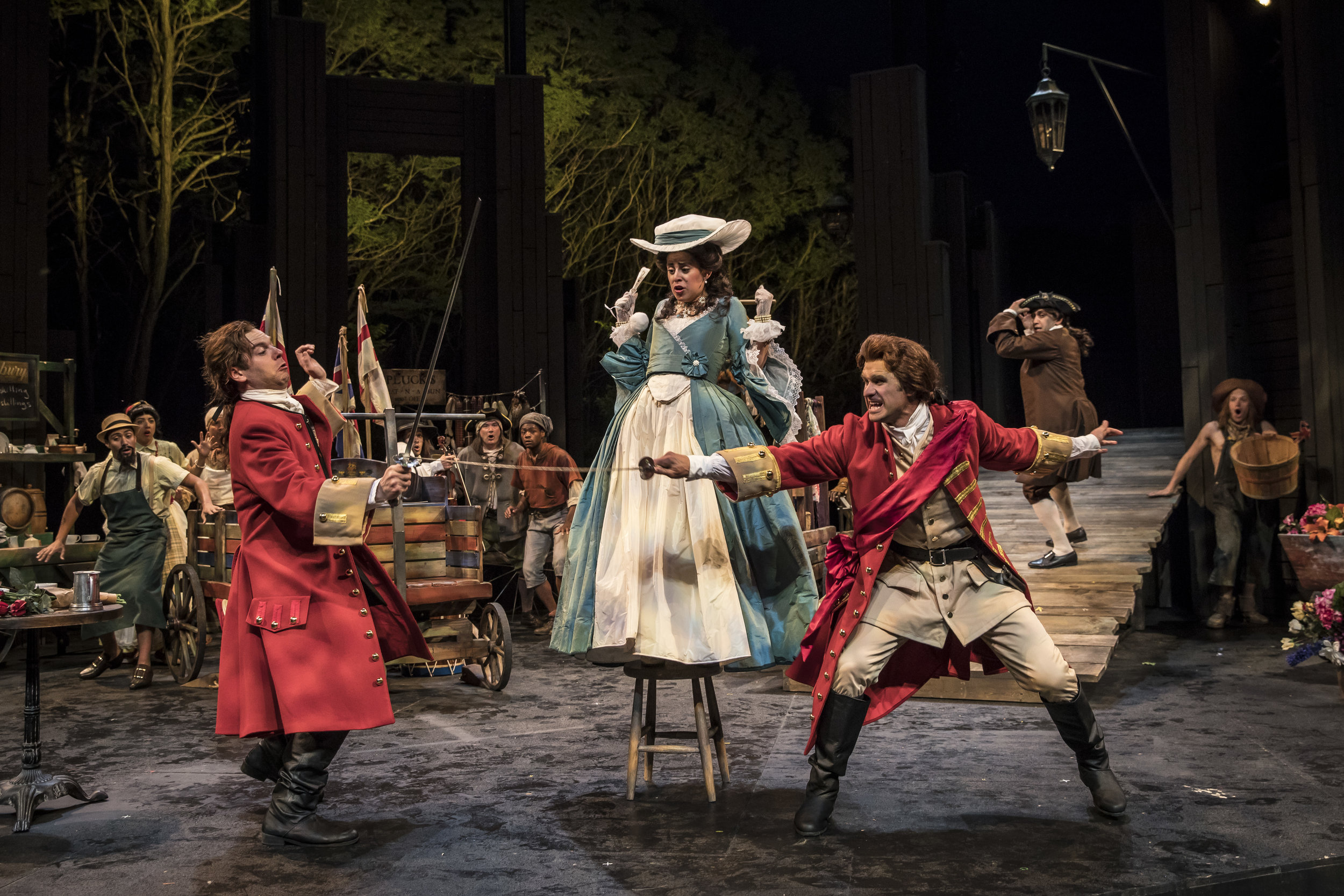 Nate Burger, Andrea San Miguel & Marcus Truschinski (foreground), The Recruiting Officer, 2018. Photo by Liz Lauren.