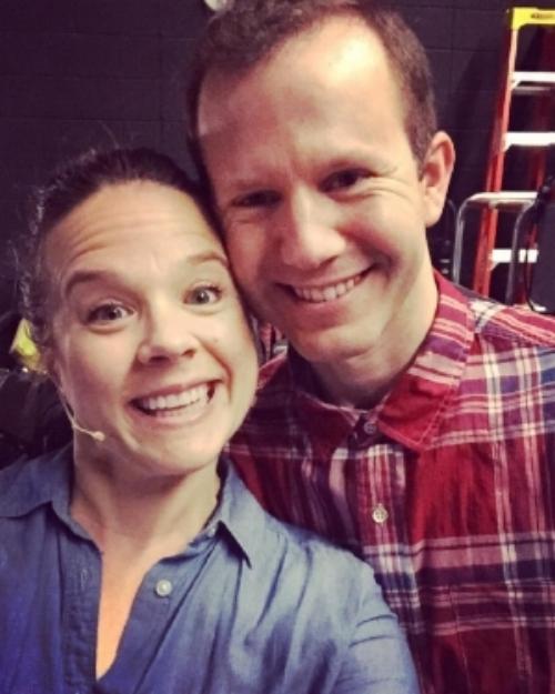 Lenne Klingaman and Mark Christine, backstage at  Waitress.