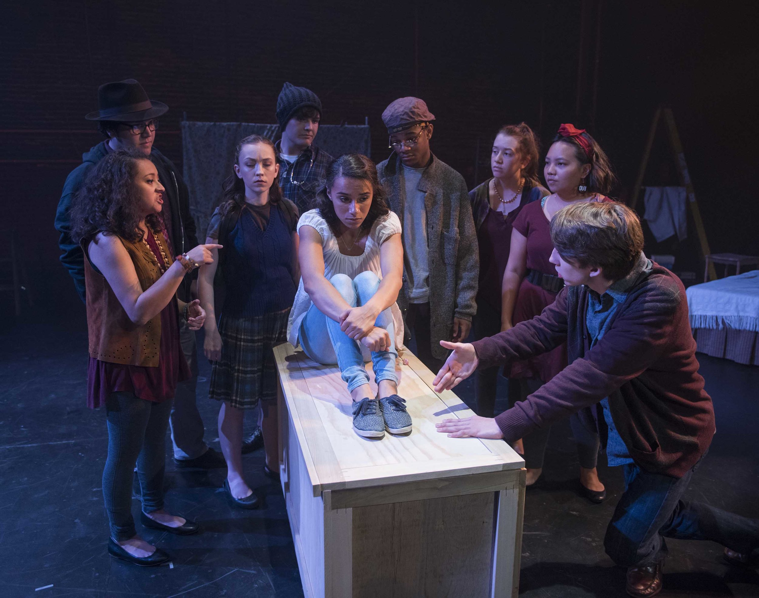 Milwaukee Repertory Theater's Professional Training Institute Ensemble presents the World Premiere of Lost Girl by Kimberly Belflower in the Stiemke Studio from July 19 to July 22, 2018. Left to Right: Juliana Garcia-Malacara, Logan Muñoz, Meguire Hennes, Dominic Schiro, Reese Parish, Durran Goodwin Jr, Maricella Kessenich, Mainyia Xiong, and Bradley Nowacek. Photo by Michael Brosilow