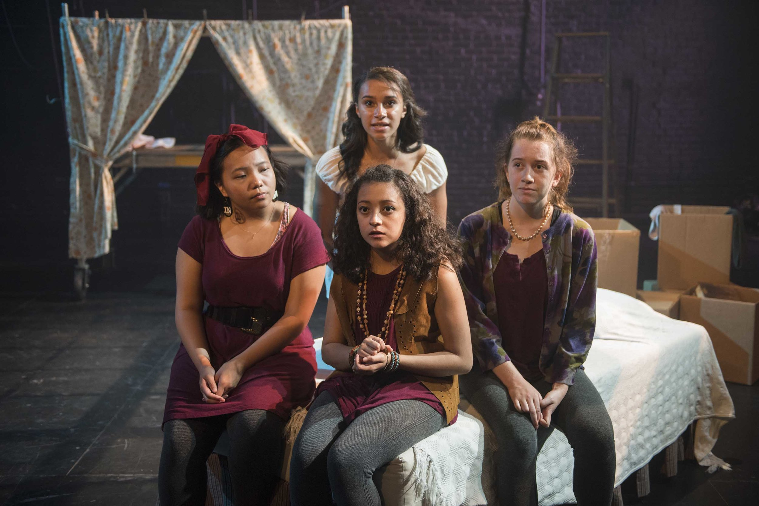 Milwaukee Repertory Theater's Professional Training Institute Ensemble presents the World Premiere of Lost Girl by Kimberly Belflower in the Stiemke Studio from July 19 to July 22, 2018. Left to Right: Mainyia Xiong, Juliana Garcia-Malacara, Reese Parish and Maricella Kessenich. Photo by Michael Brosilow.
