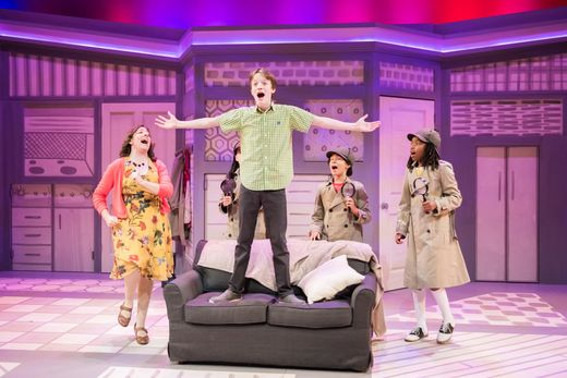 """Elyse Edelman (left), Bryn Dresselhuys, Zephaniah Ponder, Nafia Johnson, and Seth Hoffman (front center) sing in First Stage's """"Nate the Great"""" through Nov. 11 at the Marcus Center. Photo by Paul Ruffolo."""