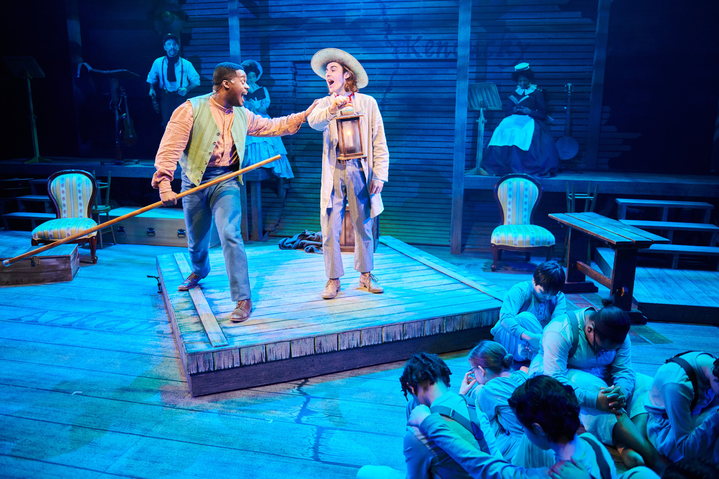 """DiMonte Henning and Luke Brotherhood and cast in First Stage's """"Big River."""" Photo by Paul Ruffolo."""