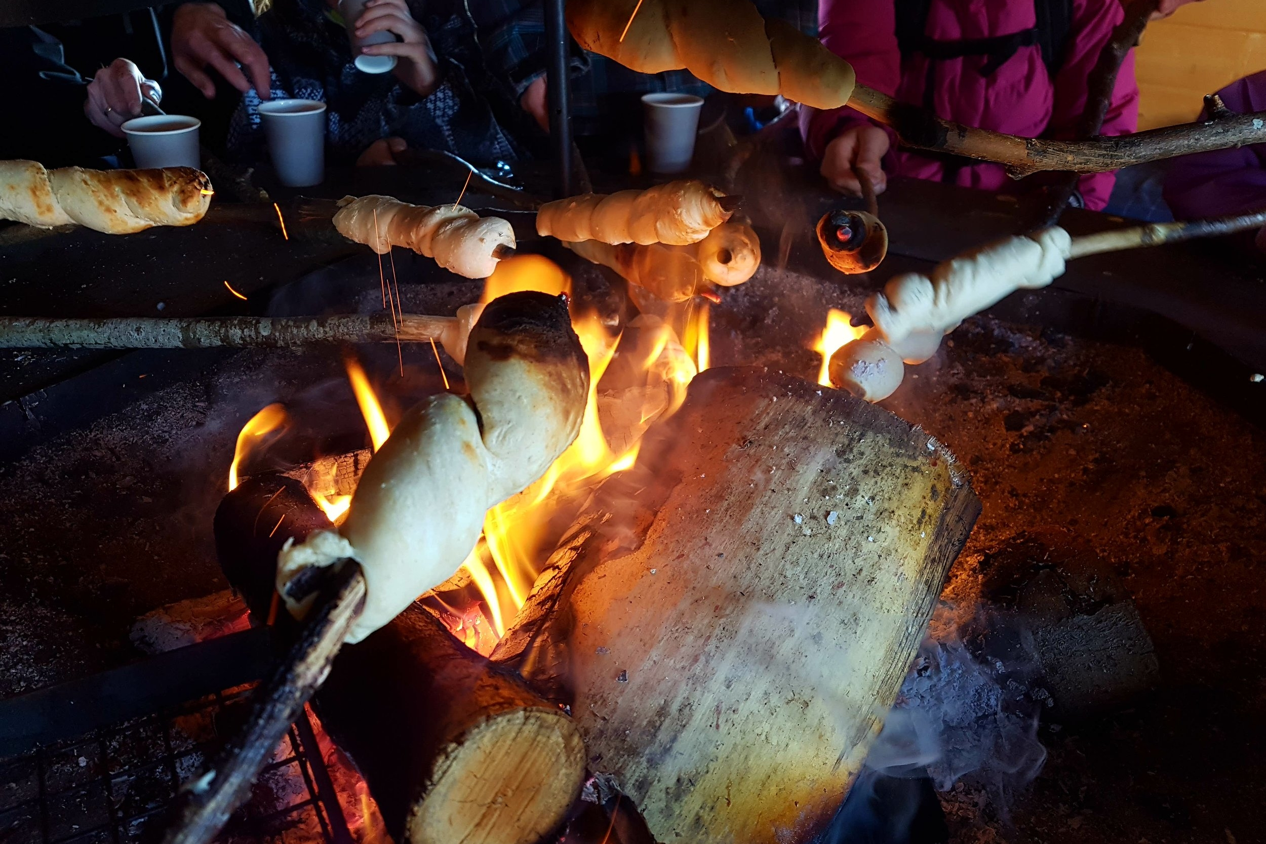 Bread twists around the fire - always a cozy time