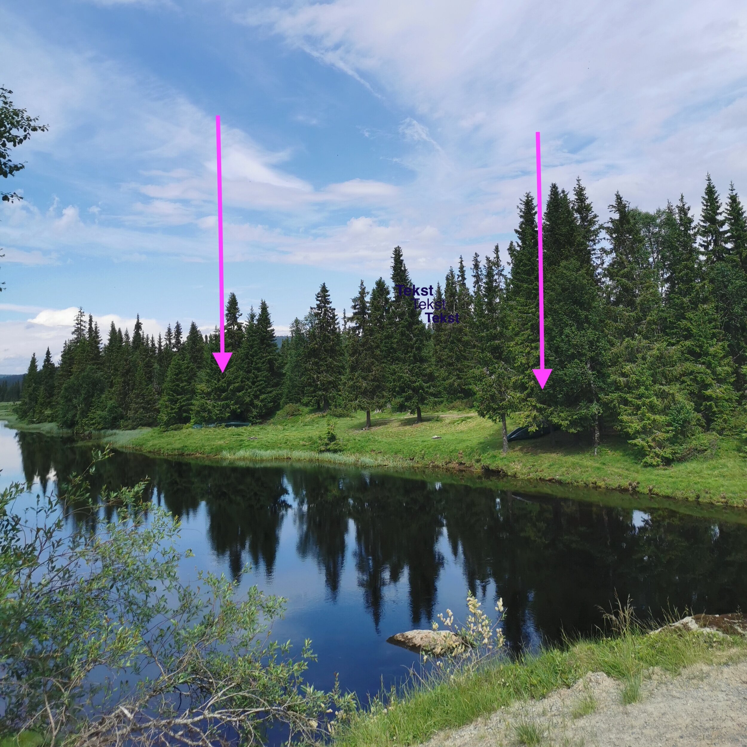 """Canoes are here, just by the cabin """"Brubakken"""" which is also on Google maps. This is also a nice place for staying over in your own tent."""
