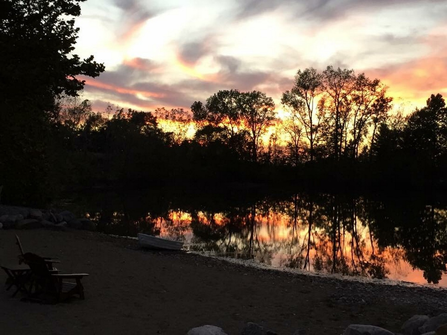 Sunset View Over The Pond