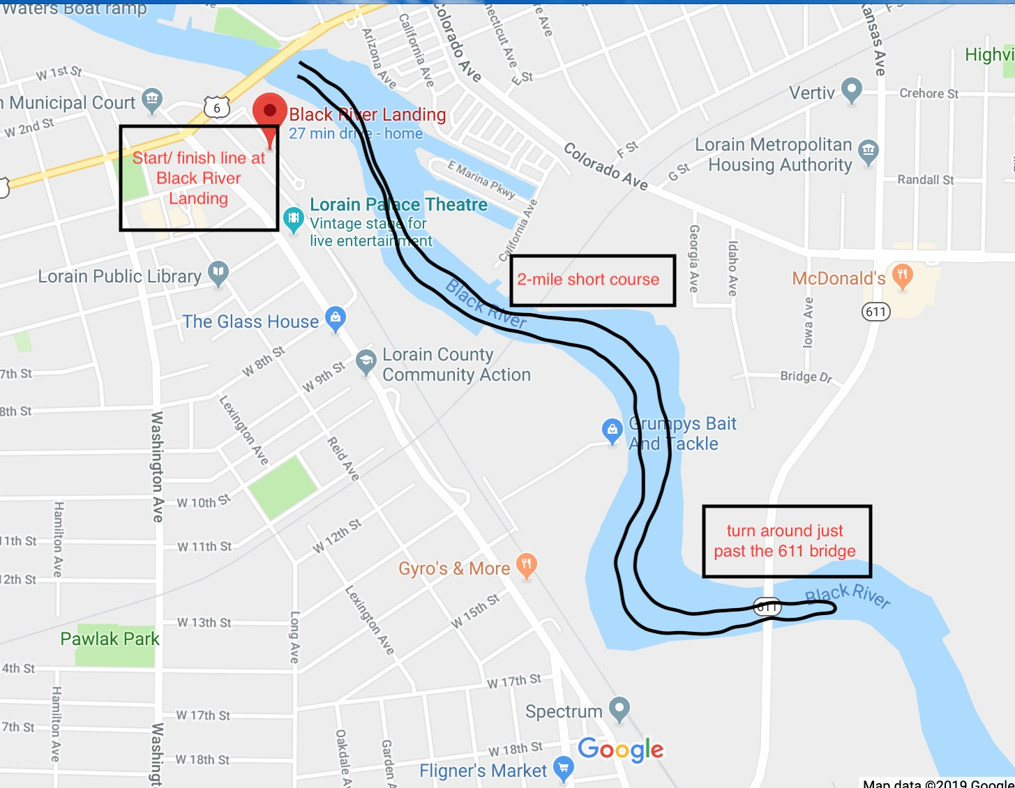 2-mile, short course, recreational race from Black River Landing, upriver to the Rt 611 bridge, turn around, back downriver to finish at Black River Landing.