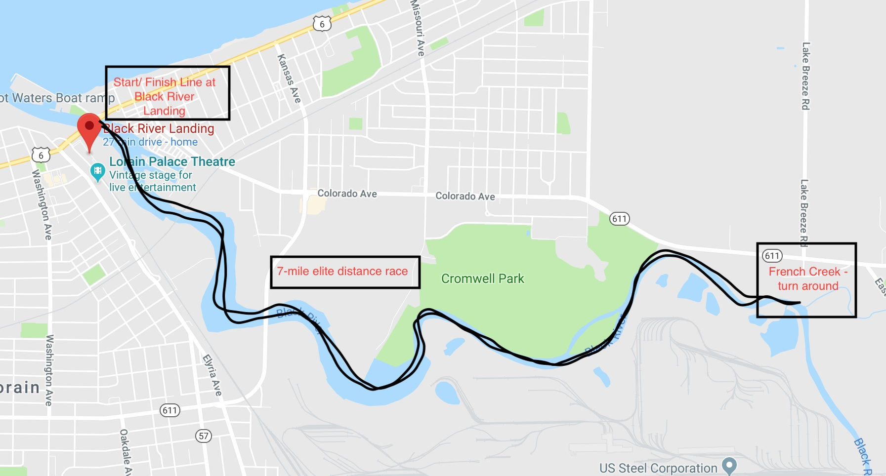 7-mile, elite distance race from Black River Landing, upriver to the Frech Creek confluence, turn around, back downriver to finish at Black River Landing.