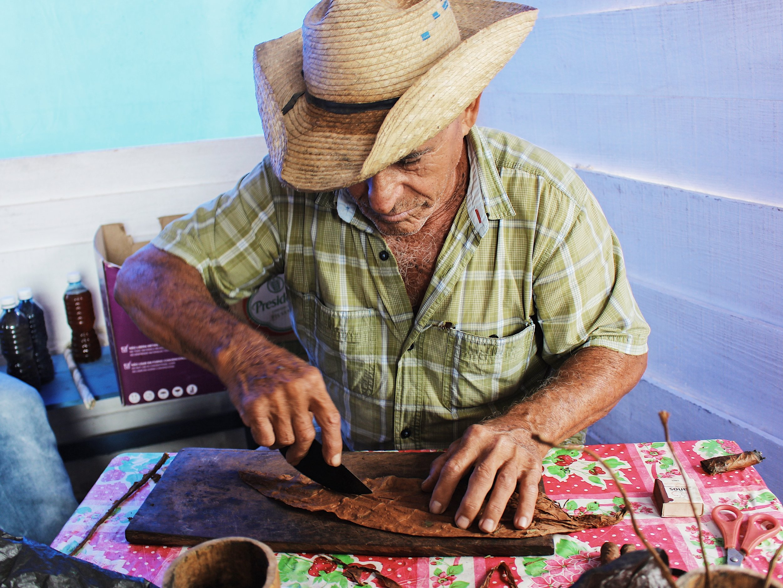 farmer rolling a cigar by hand
