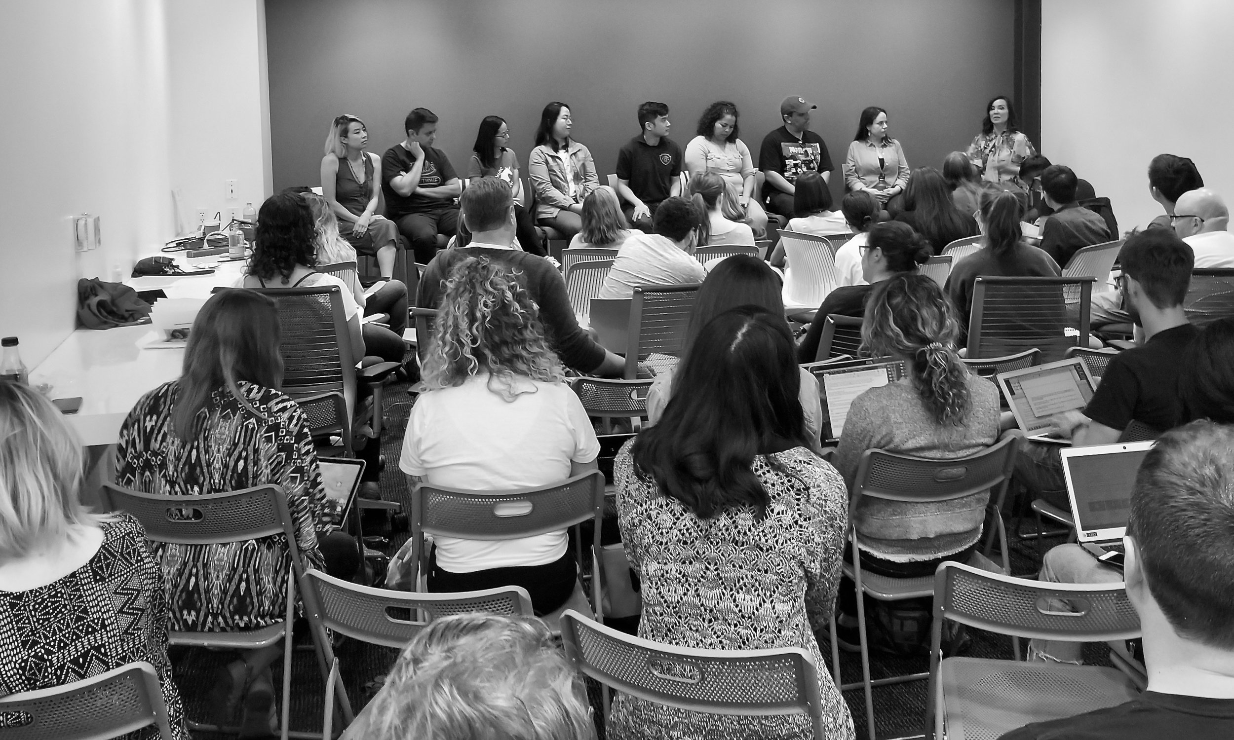 A full house at the Fellowship Bio & Essay Panel at Blank Spaces in Larchmont, Los Angeles, 2019.