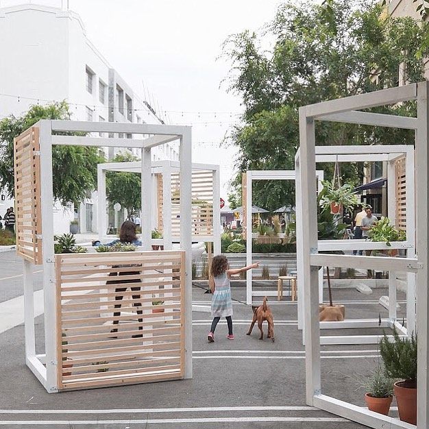 Vertical Garden by Ghatit Studio   Ghatit Studio designed a pavilion for this year's festival that brings together plants and shade under a timber framed space to create a small urban park in the middle of ROW DTLA.