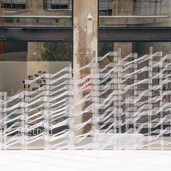 Kori by OWIU   Kori is a 10'x40' acrylic installation designed and fabricated by OWIU Design. It experiments with the concept of transparency in order to create a playful yet ethereal space.