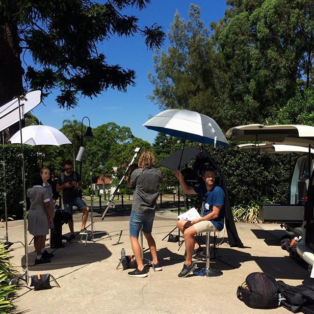 Seeking refuge under the Sydney sun interviewing the young bubbly/smart/talented @abbotsleigh women.  #behindthescenes, #productioncompany,#samsumovideo