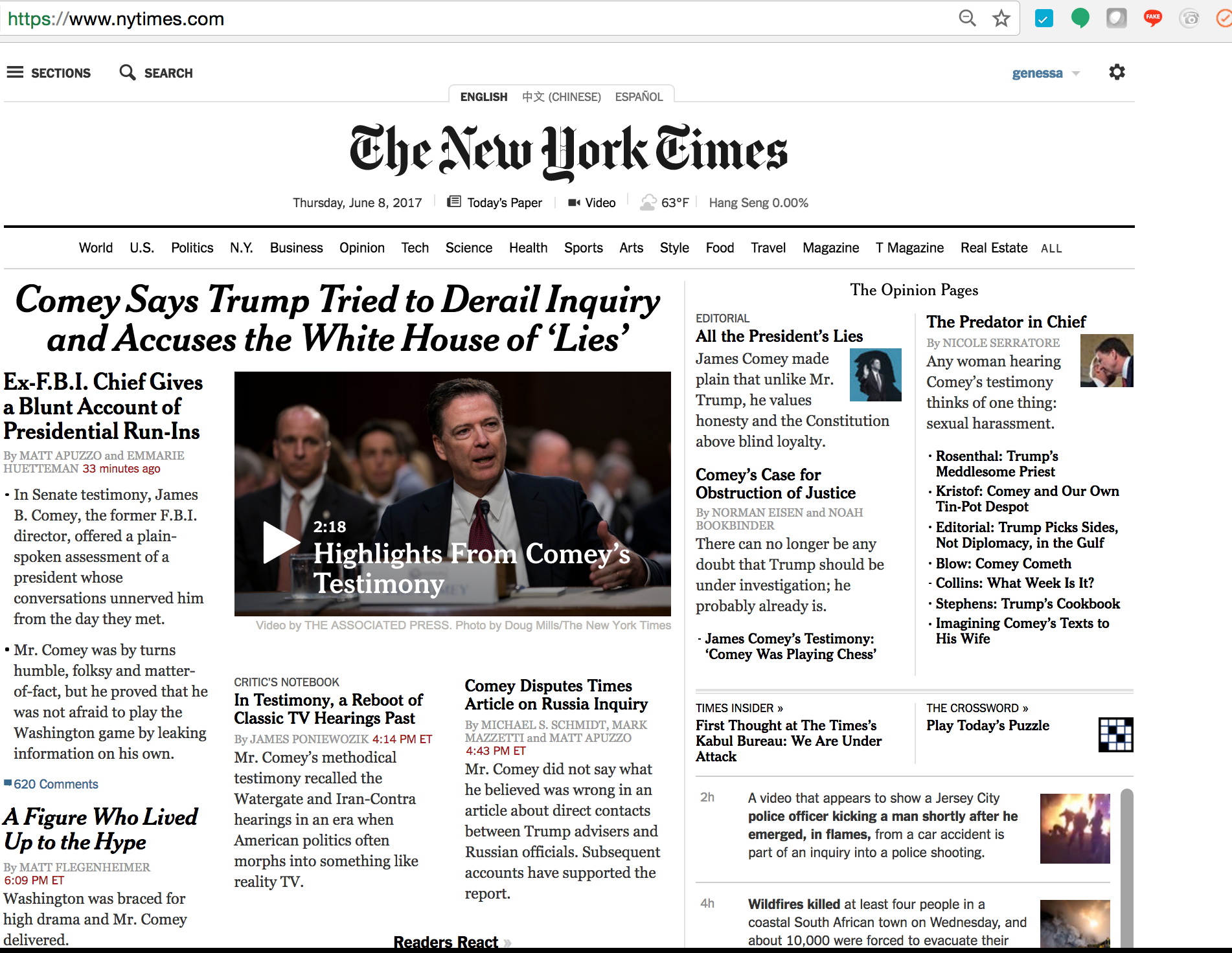 Home Page The New York Times - 6:35pm Thursday, June 8