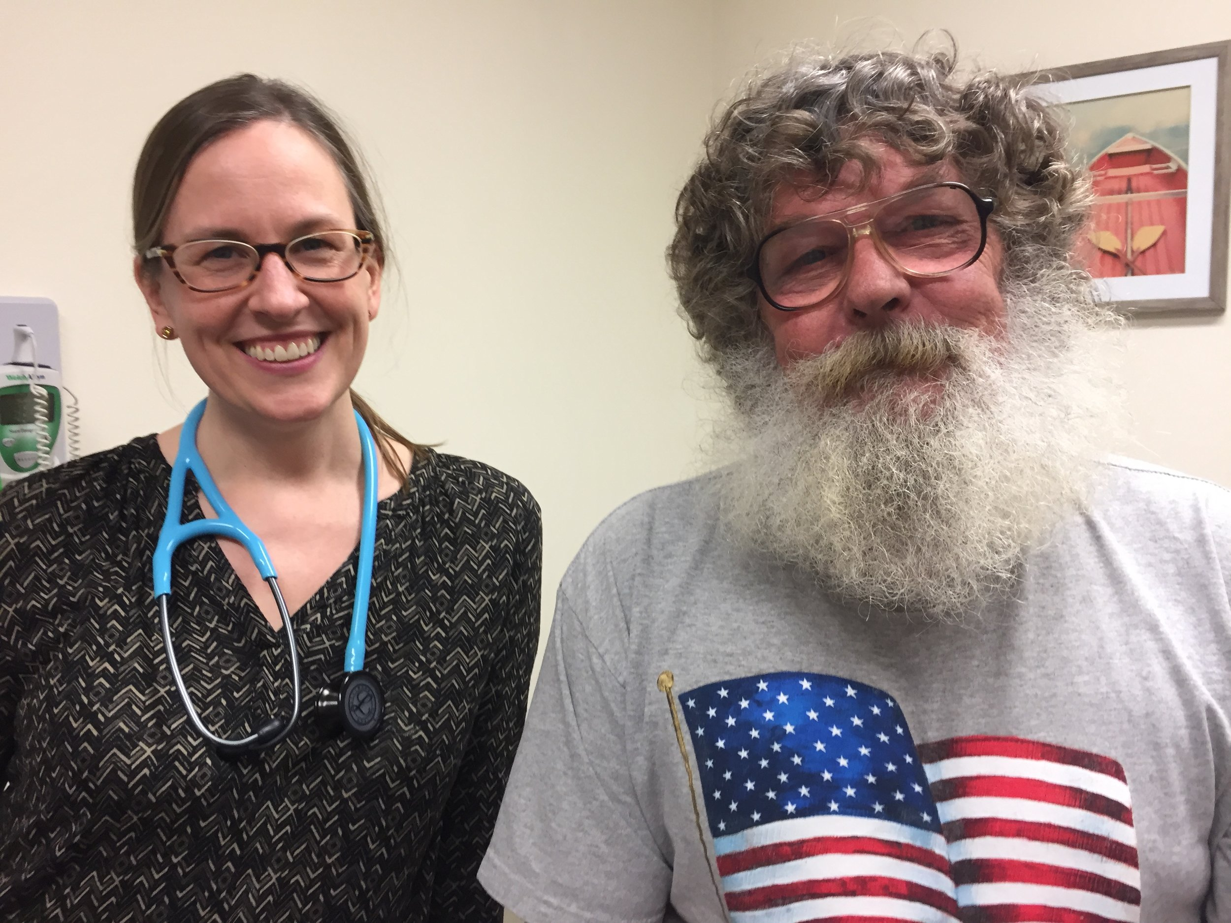 Shown here: One Community Health's Sondi Koch, PA-C and her patient, Doug Randle.