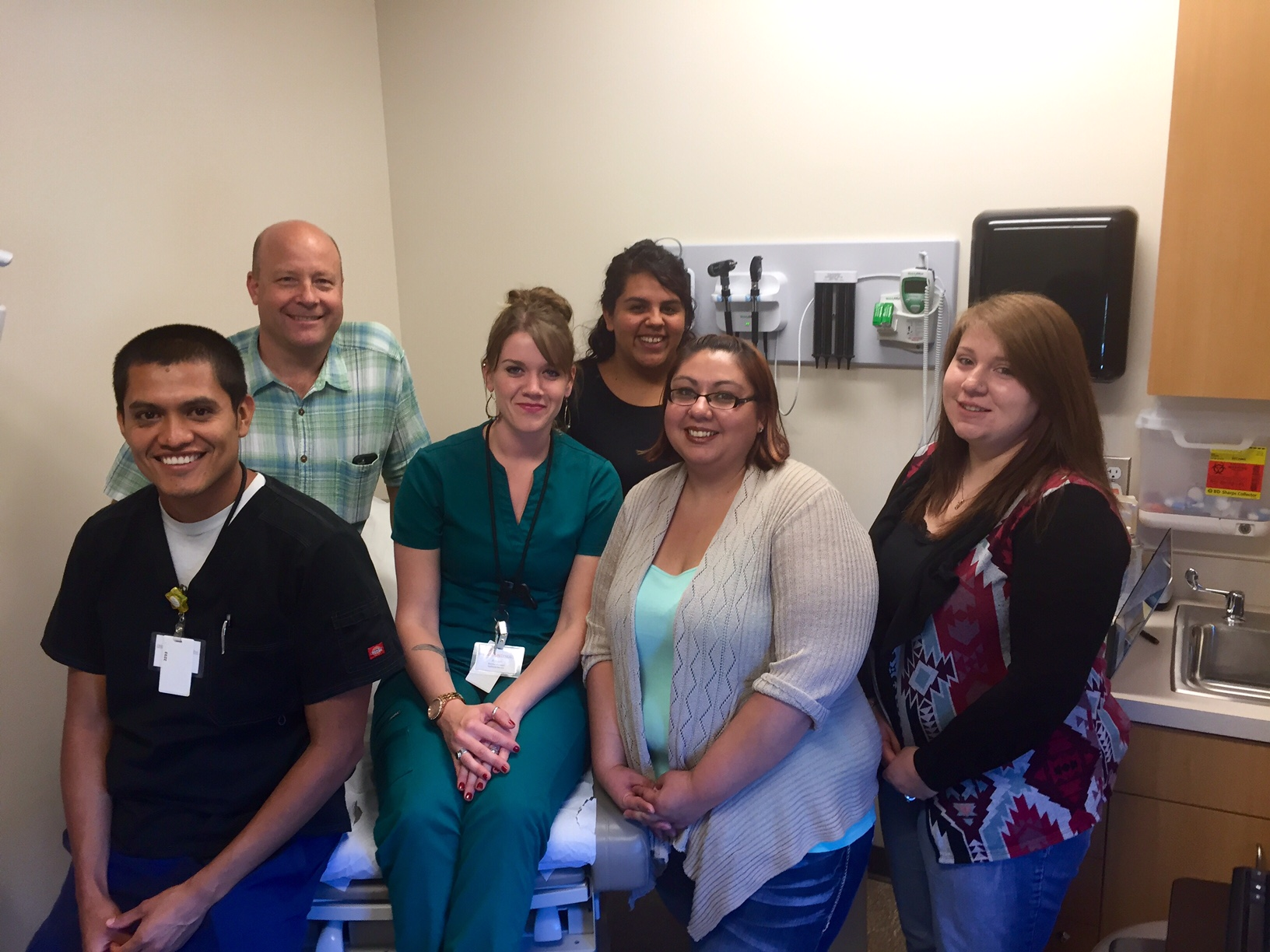 Pictured here are the staff members who helped:Top row, left to right: Art Ticknor, MD (has relocated out of state since this event) and Maria Acevedo, CHW; bottom row, left to right: Nelson Hernandez-Rosales, RN; Ashlyn Vissers, CMA; Maria Mendiola, Clinical Support Coordinator; Electra Curl, CMA and (not pictured) Danel Hoidal, CMA.