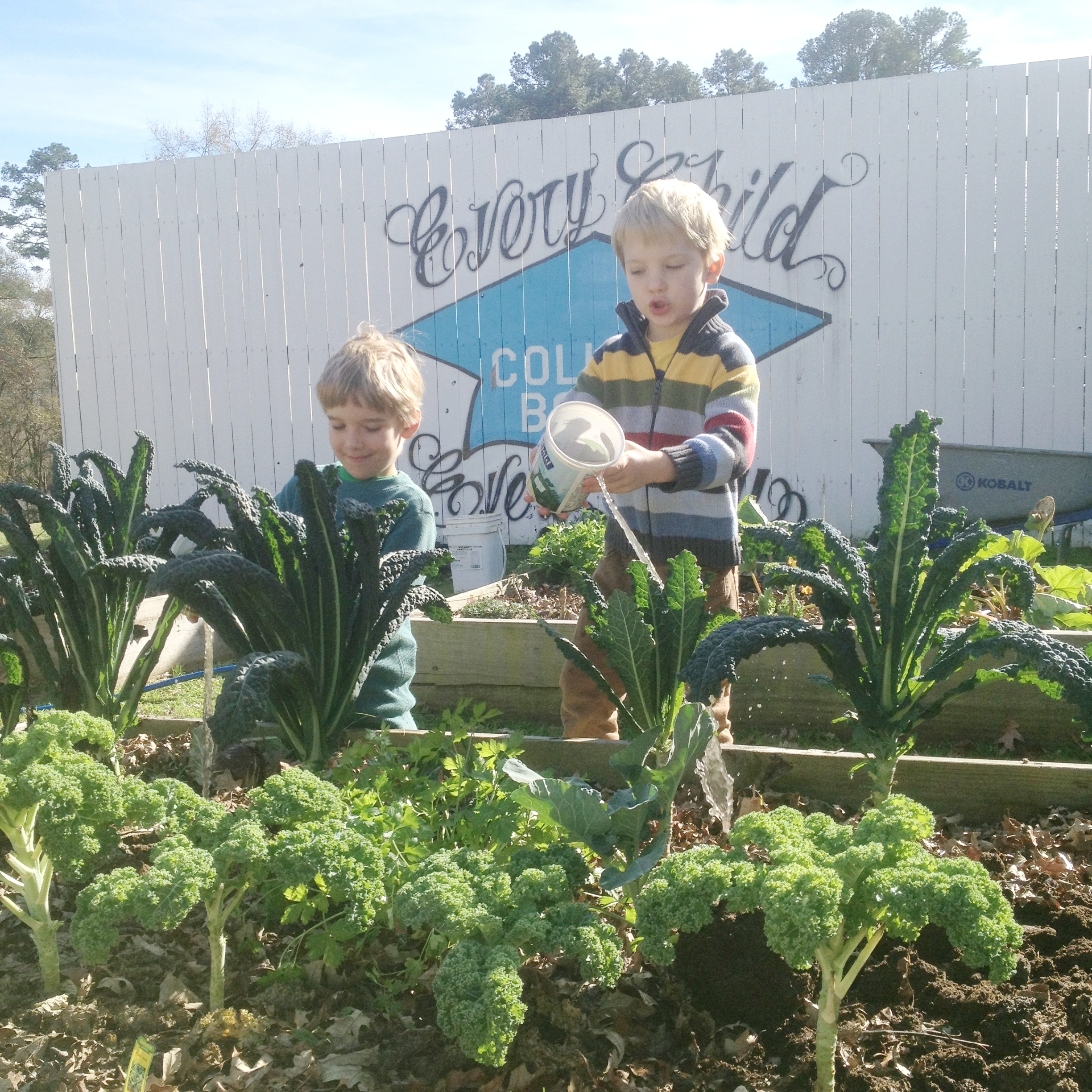Moore brothers help water the Carpenter Elementary School Garden.