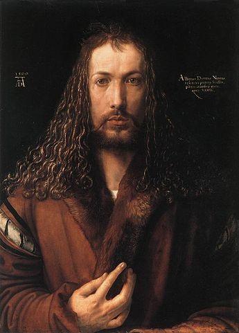 Albrecht Dürer,  Self-portrait at Twenty-eight Years Old Wearing a Coat with Fur Collar , 1500