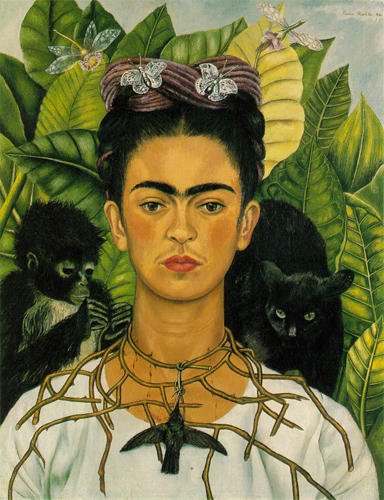 Frida Kahlo,  S  elf-portrait with Thorn Necklace and Hummingbird,  1940