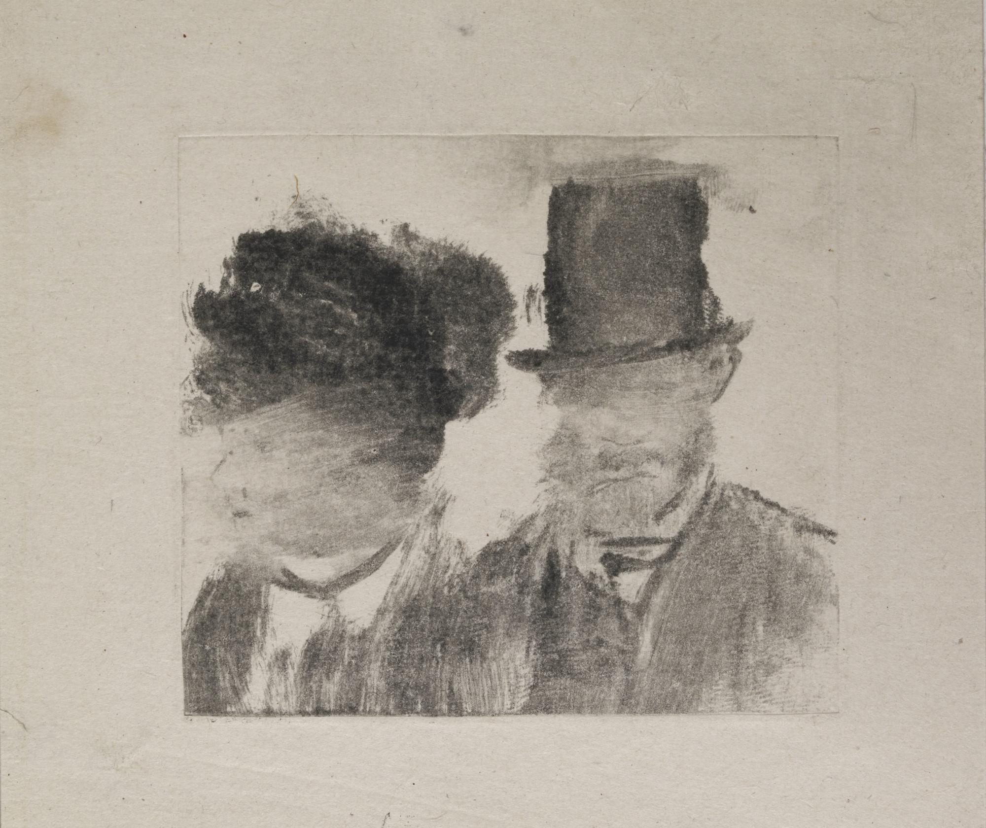 Edgar Degas,  Heads of a Woman and a Man , (1877-80)