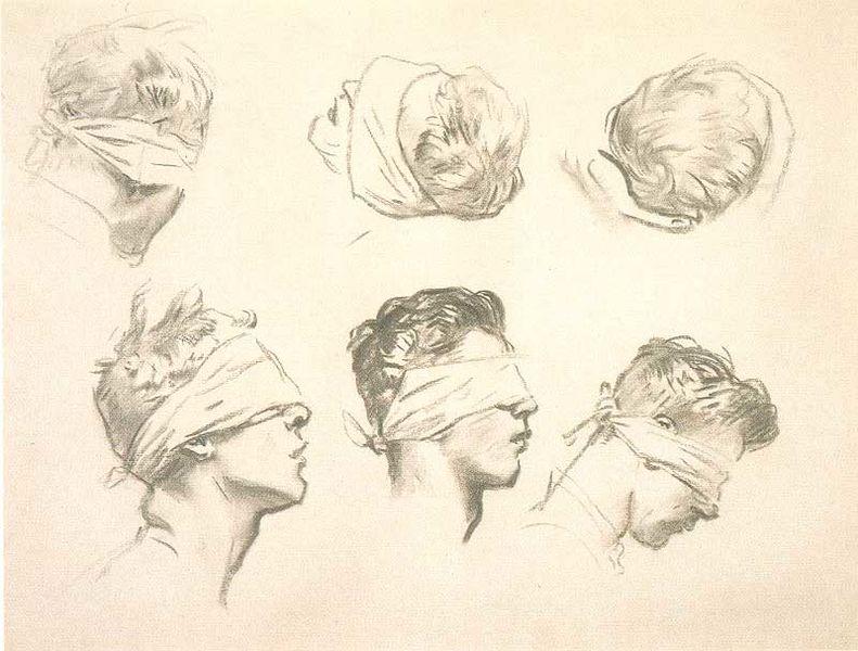 """John Singer Sargent,  Six Studies for """"Gassed""""  (1918-19)"""