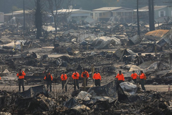 Zealand recognized this photo of Journey's End Mobile Home Park on the October 13, 2017 front page of the New York Times and understood how severe the damage had been to his grandma Judy's home.