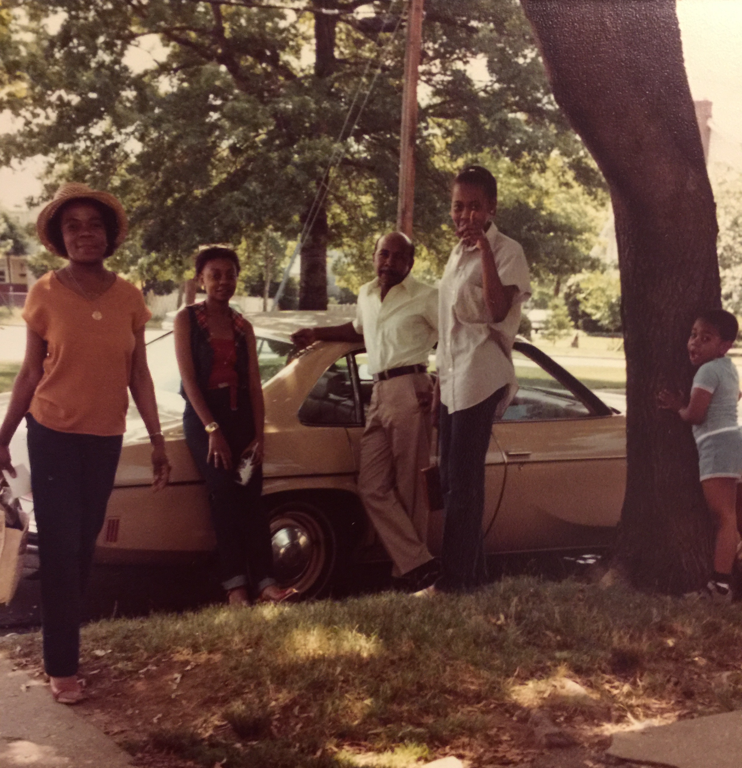 Victoria's family in Brooklyn in probably the late 1970s. Her mom (pointing at the camera), her grandparents, her aunt, and her uncle.